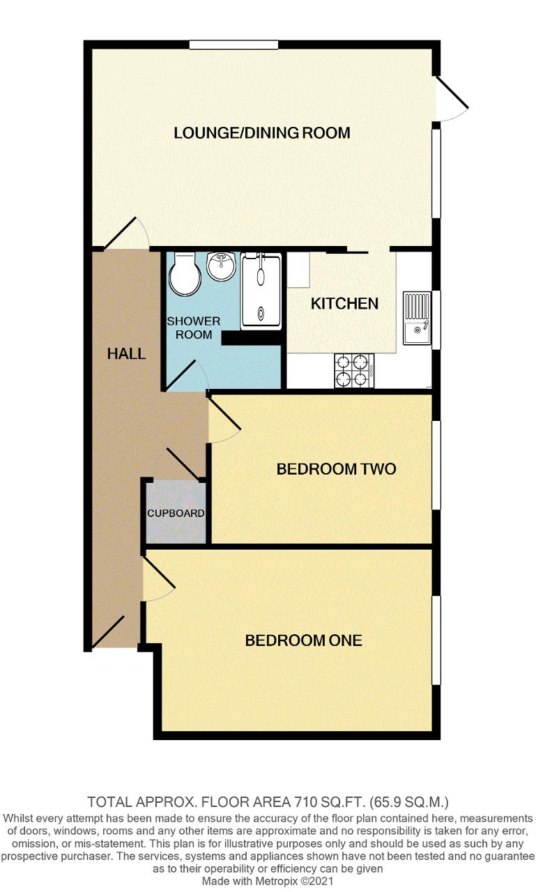 Floorplan of Rodmell Court, Surrey Road, Seaford, East Sussex, BN25 2PB